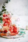 Sparkling rose and strawberry punch