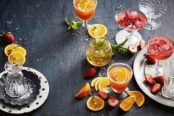 Orange, passionfruit and thyme gin crush; Strawberry and gin cocktail; Cucumber and dry gin and tonic