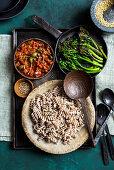 Buckwheat pasta with vegan putanesca sauce and grilled broccolini (vegan)