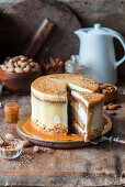 Pumpkin caramel cake with almond praline