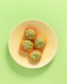 Oven-roasted, stuffed apricots with a pistachio nut crust