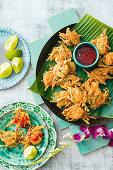 Malaysian prawn and veg fritters with chilli sauce