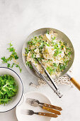 Ricotta, olive and pine nut farfalle