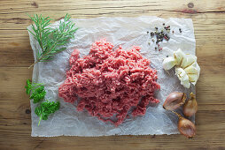 Raw minced meat with ingredients