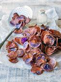 Oven baked violet potato crisps