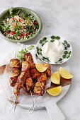 Spiced fish kebabs with pearl couscous salad
