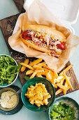 Charred hot dogs with spicy mayonnaise