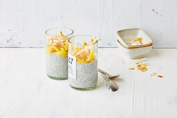 Chia pudding with mango noodles and coconut (low carb)