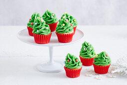 Mini-Weihnachtsbaum-Cupcakes