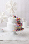 Layered Funfetti cake with marshmallow frosting