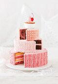 Stack-it-high neapolitan cake, white chocolate and raspberry mud cake, mars bars and hazelnut buttercake