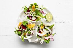 A summer vegetables salad with oranges