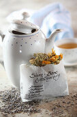 Mix-it-yourself medicinal tea for detoxification (stinging nettle, peppermint, horsetail, yarrow and marigold)
