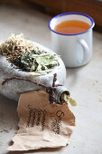 Mix-it-yourself medicinal tea for colds (lime blossom, echinacea, peppermint and willow bark)