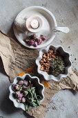 Mix-it-yourself love tea (apple piece, rosemary, hawthorn, rose, orange pieces and lemon verbena)