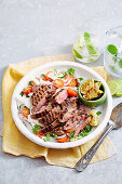Asian Marinated Beef with Rice Noodle Salad
