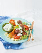 Frikkadels with couscous and lime tzatziki
