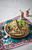 Persian fried rice with dates and lentils