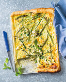 Summer vegetable and feta quiche