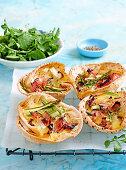 Ham, brie & asparagus quiches in lebanese bread