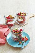 Joghurt mit Beeren und Knuspermüsli in Gläsern