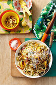 Pumpkin and bacon pasta with garlic crumbs