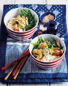 Sweet and sour chicken noodle pots