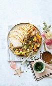 Roast turkey buffe with easy, cheesy bread and bacon stuffing