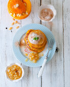 Pumpkin pancakes with apple compote and cinnamon sugar