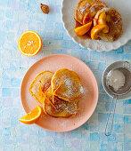 Peach and orange pancakes