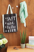 Shopping list on bag handmade from chalkboard fabric