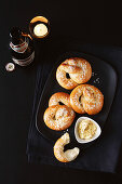 Pretzels with roasted garlick and mustard butter