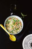 Asparagus, carrot and baby kale slaw