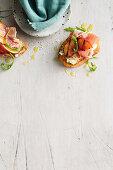 Chargrilled nectarine and prosciutto bruschetta