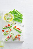 Tuna and cream cheese celery sticks