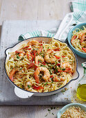 Linguine with Prawns, Chilli and Parmesan Crumb