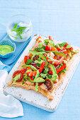 Avocado and prawn tart
