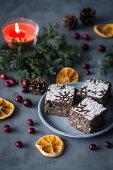 Christmas poppy seed and orange tray cake