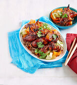Sticky honey soy wings with noodles