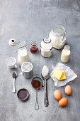 Zutaten für Lamingtons (Kuchenwürfel, Australien) mit Marmelade und Vanillecreme