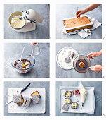 Zubereitung von Lamingtons (Kuchenwürfel, Australien) mit Marmelade und Vanillecreme