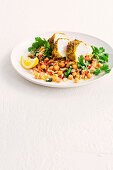 Chermoula grilled fish with couscous