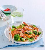 Vegie-packed ginger and prawn stir-fry
