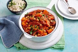 Tomato, Chorizo and Kumara hotpot