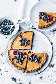 Cream cheese tart with blueberry salad