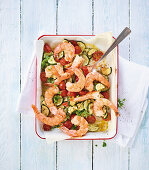 Fried prawns with a courgette and tomato medley (low carb)