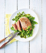 Tuna fish with a warm vegetable and mint salad (low carb)