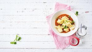 Quark gnocchi in tomato sauce (low carb)