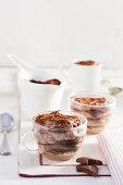 Quick chocolate tiramisu in glass cups