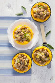 Saffron semolina tartlets with meatballs and chicory